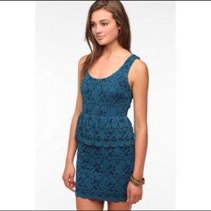 Pins + Needles Teal Lace Peplum dress
